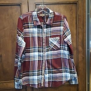 Tops - Women's Long Sleeve Plaid Top